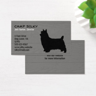 Silky Terrier Silhouette Wood Style Business Card
