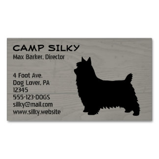 Silky Terrier Silhouette Wood Style Magnetic Business Card