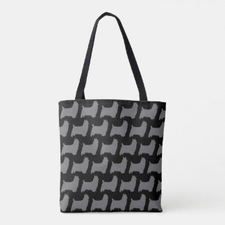 Silky Terrier Silhouettes Christmas Pattern Tote Bag