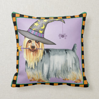 Silky Terrier Witch Throw Pillow