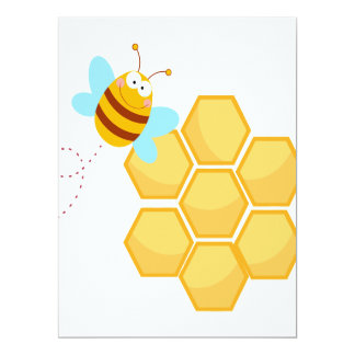 silly bee and beehive honey comb 6.5x8.75 paper invitation card