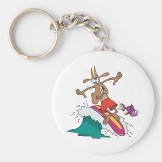 silly billy goat surfing surfer cartoon keychain