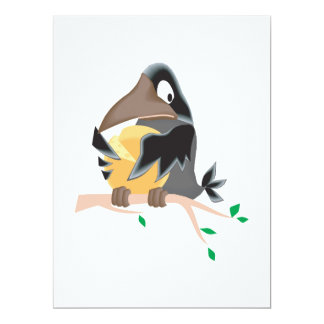 "silly black crow eating cheese 6.5"" x 8.75"" invitation card"