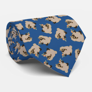 Silly Blackface sheep on blue background tie