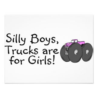 Silly Boys Trucks Are For Girls Pink Invitation