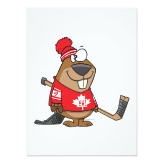 """silly canadian hockey beaver cartoon 6.5"""" x 8.75"""" invitation card"""