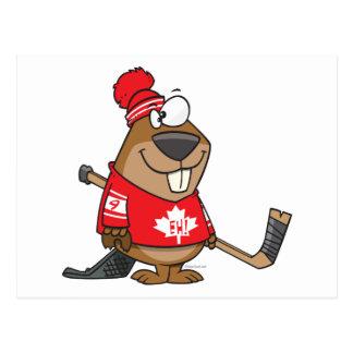silly canadian hockey beaver cartoon post cards