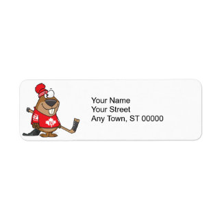 silly canadian hockey beaver cartoon return address label
