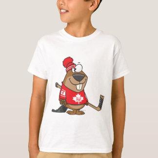 silly canadian hockey beaver cartoon T-Shirt