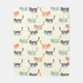 Silly Cartoon Cats Orange Blue Cream Fleece Blanket