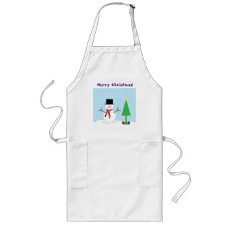 Silly Cartoon Snowman with gifts & Christmas Tree Long Apron