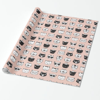 Silly Cat Faces Pattern Wrapping Paper