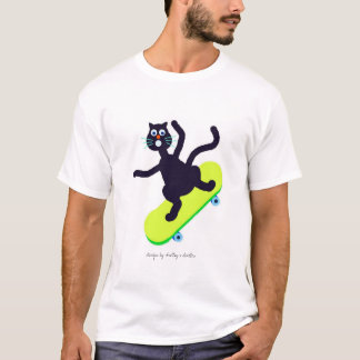 silly cat on skateboard T-Shirt