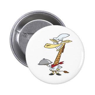 silly chef cook giraffe cartoon 2 inch round button