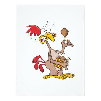 """silly chicken holding bucket of chicken drumsticks 6.5"""" x 8.75"""" invitation card"""