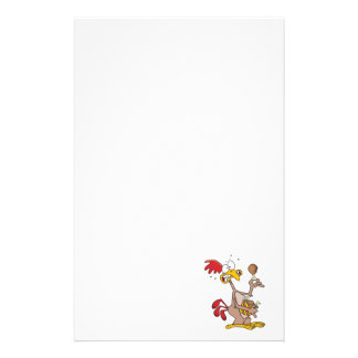 silly chicken holding bucket of chicken drumsticks stationery