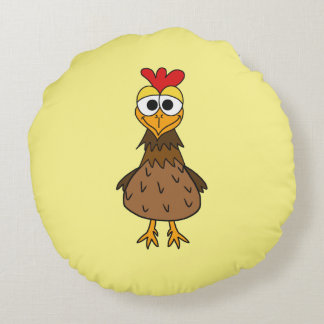 Silly Chicken Round Pillow