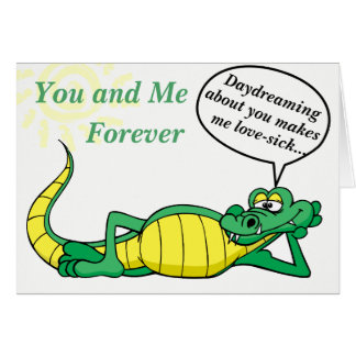 Silly Crocodile Day Dreams of Love Card