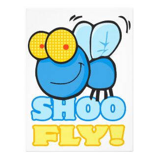 silly cute cartoon character SHOO FLY Announcements
