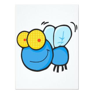 "silly cute cartoon fly character 6.5"" x 8.75"" invitation card"