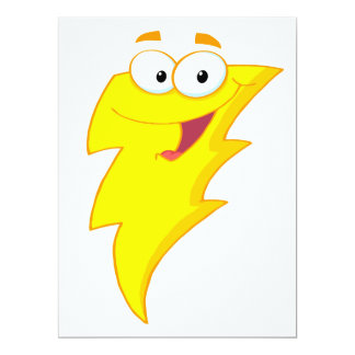 "silly cute cartoon lightning bolt character 6.5"" x 8.75"" invitation card"