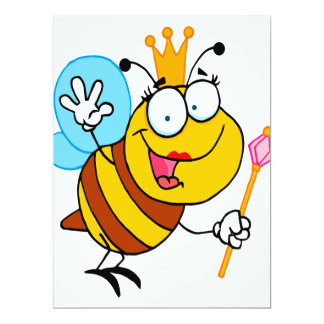 silly cute cartoon queen bee 6.5x8.75 paper invitation card