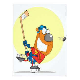 "silly cute hockey player playing bear cartoon 6.5"" x 8.75"" invitation card"