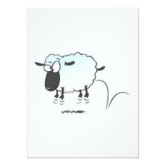 "silly cute leaping lamb sheep cartoon 6.5"" x 8.75"" invitation card"