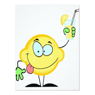 silly cute lemon cartoon drinking lemonade announcement