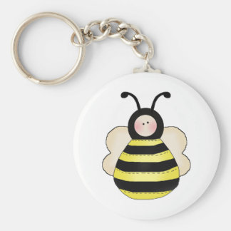 silly cute round bumble bee keychain