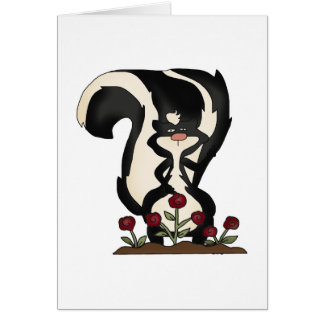 silly cute skunk and red roses card