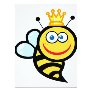 "silly cute smiling queen bee cartoon 6.5"" x 8.75"" invitation card"