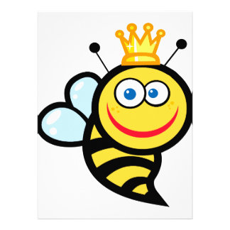 silly cute smiling queen bee cartoon invitations
