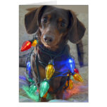 Silly Dachshund tangled in Christmas Lights Greeting Card