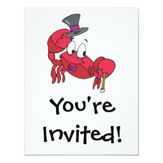"""silly dancing crab 4.25"""" x 5.5"""" invitation card"""