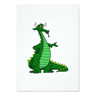 "Silly Dragon Green 5"" X 7"" Invitation Card"
