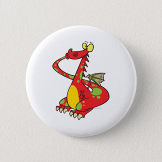 silly dragon with tail in mouth 2 inch round button