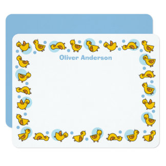 """Silly Duckies Blue Baby Shower Thank You Card 4.25"""" X 5.5"""" Invitation Card"""