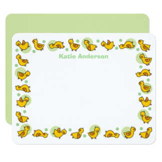 """Silly Duckies Green Baby Shower Thank You Card 4.25"""" X 5.5"""" Invitation Card"""