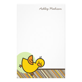 Silly Duckies Green Kids Thank You Stationery