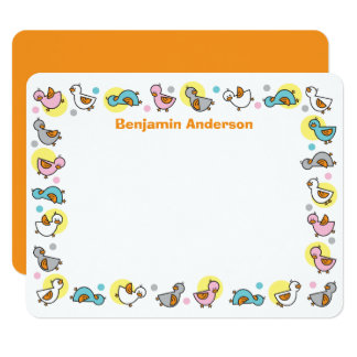 """Silly Duckies Pastels Baby Shower Thank You Card 4.25"""" X 5.5"""" Invitation Card"""
