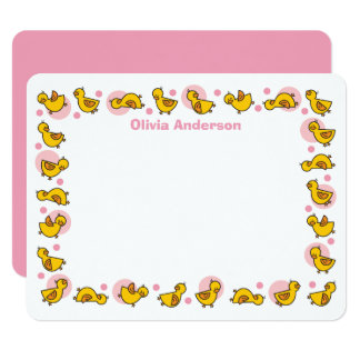 """Silly Duckies Pink Baby Shower Thank You Card 4.25"""" X 5.5"""" Invitation Card"""
