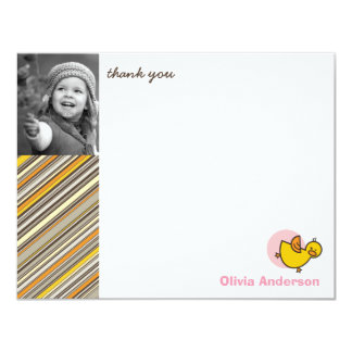 "Silly Duckies Pink Kids Birthday Thank You Card 4.25"" X 5.5"" Invitation Card"