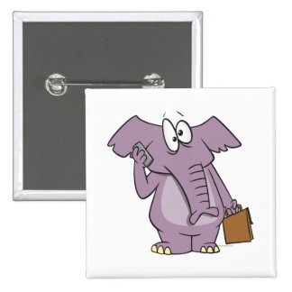 silly elephant on a cellphone cartoon 2 inch square button