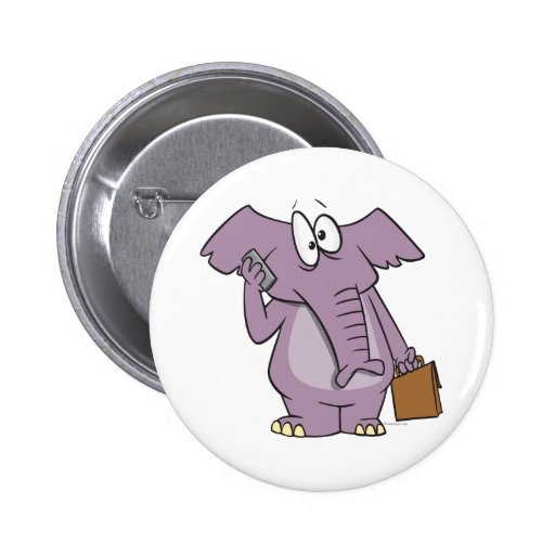 silly elephant on a cellphone cartoon pinback button