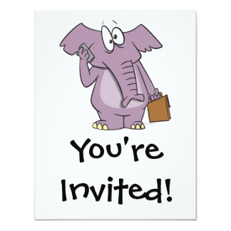 silly elephant on a cellphone cartoon invitations