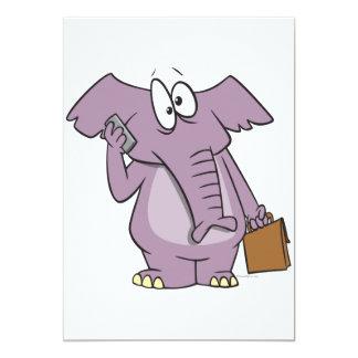 silly elephant on a cellphone cartoon invites