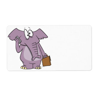 silly elephant on a cellphone cartoon custom shipping labels
