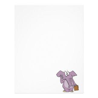 silly elephant on a cellphone cartoon custom letterhead