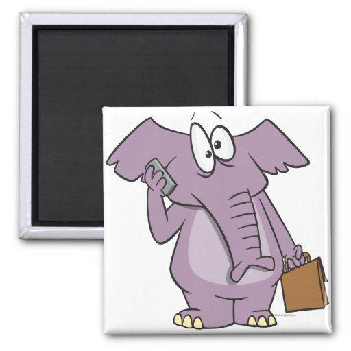 silly elephant on a cellphone cartoon magnet